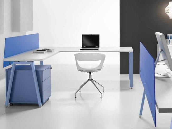 L-shaped wooden office desk ATREO | Office desk - Castellani.it