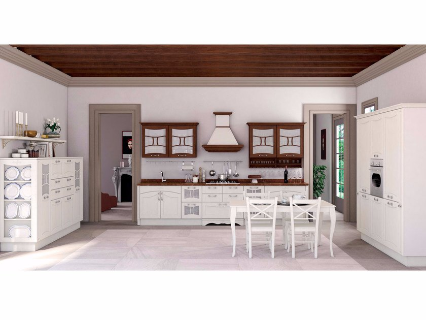 Lacquered solid wood fitted kitchen AUREA CLASSIC - CREO Kitchens by Lube
