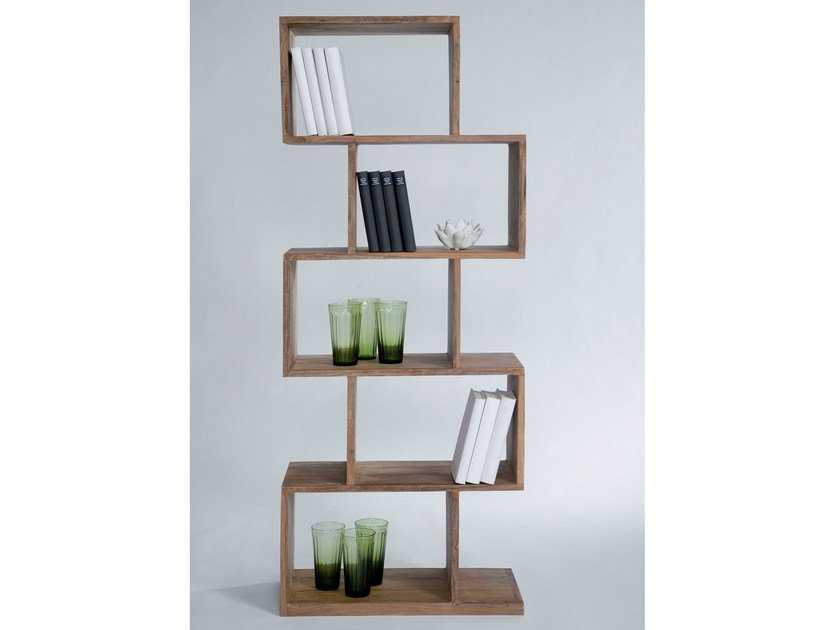 Open wooden bookcase AUTHENTICO ZICK ZACK 150 by KARE-DESIGN