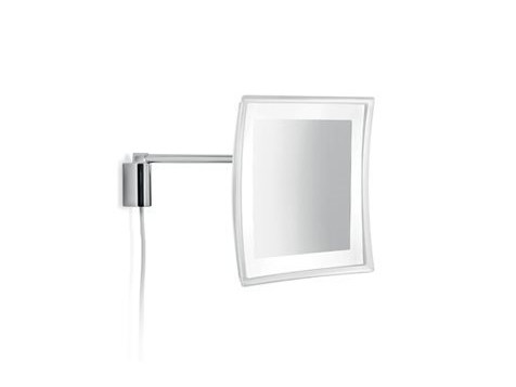 Square wall-mounted shaving mirror with integrated lighting AV058H | Shaving mirror - INDA®