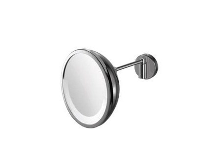 Wall-mounted round shaving mirror with integrated lighting AV158A | Shaving mirror - INDA®