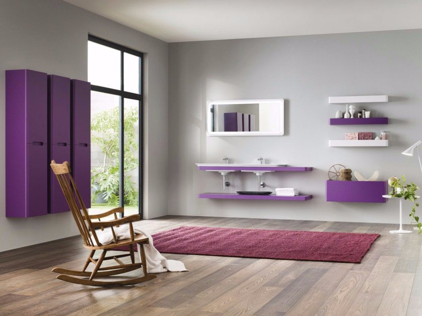 Laminate bathroom cabinet / vanity unit PFS SOFT - Composizione 1 by INDA®