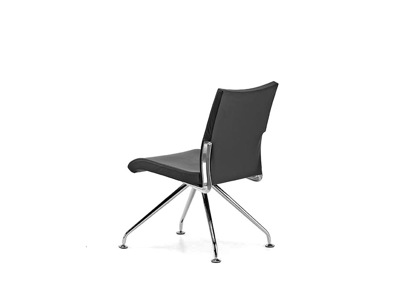 Upholstered trestle-based leather reception chair AVIA 4070 - TALIN