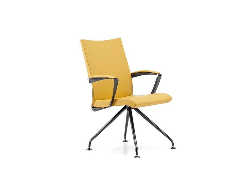 Trestle-based leather reception chair with armrests AVIA 4085 - TALIN