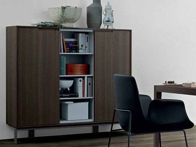 Wooden highboard with doors AXIA | Highboard by poliform
