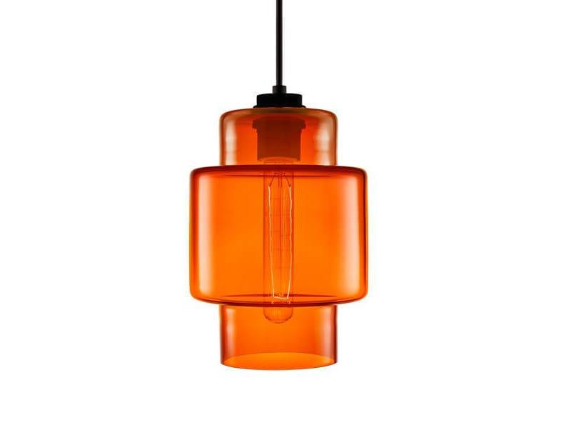 Handmade blown glass pendant lamp AXIA - Niche Modern