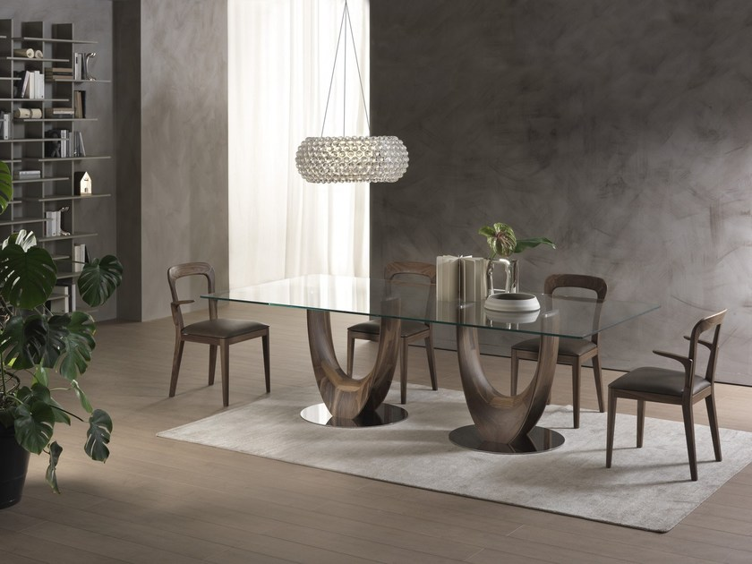 Rectangular wood and glass table AXIS | Rectangular table - Pacini & Cappellini