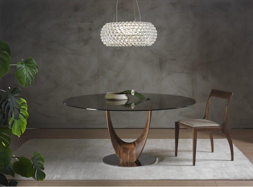 Tavolo rotondo in legno e vetro AXIS | Tavolo rotondo - Pacini ...