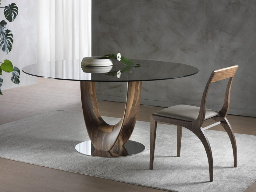 Round wood and glass table AXIS | Round table - Pacini & Cappellini