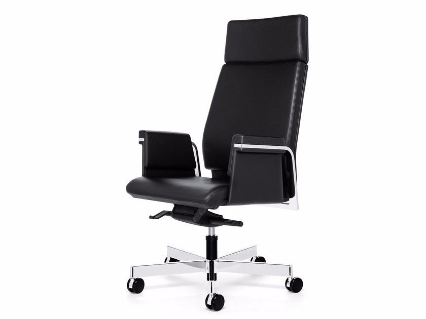 Swivel leather executive chair with casters AXOS 364A by Interstuhl