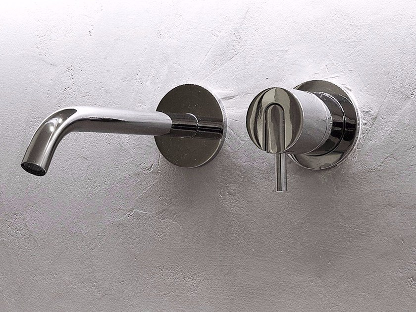 2 hole wall-mounted single handle stainless steel washbasin mixer AYATI | Wall-mounted washbasin mixer - Antonio Lupi Design®