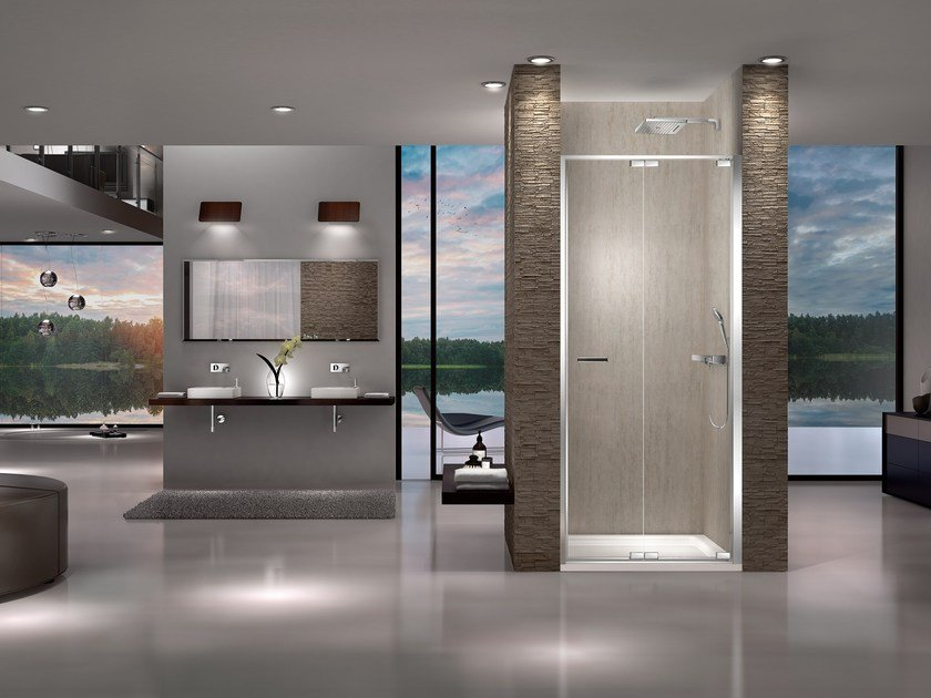 Niche shower cabin with folding door NATURA 4000 - AR-FPN L/R by DUKA