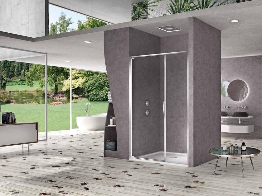 Niche shower cabin with hinged door NATURA 4000 - AR-PTF L/R by DUKA