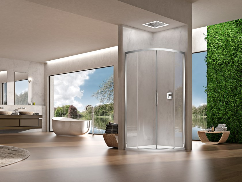 Semicircular shower cabin with sliding door NATURA 4000 - A-VRS by DUKA