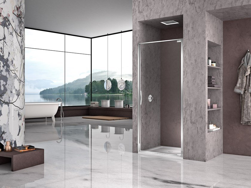 Niche shower cabin with hinged door NATURA 4000 - AR-PTN L/R by DUKA