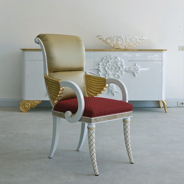 Upholstered fabric chair with armrests B1091 | Chair with armrests - Rozzoni Mobili d'Arte
