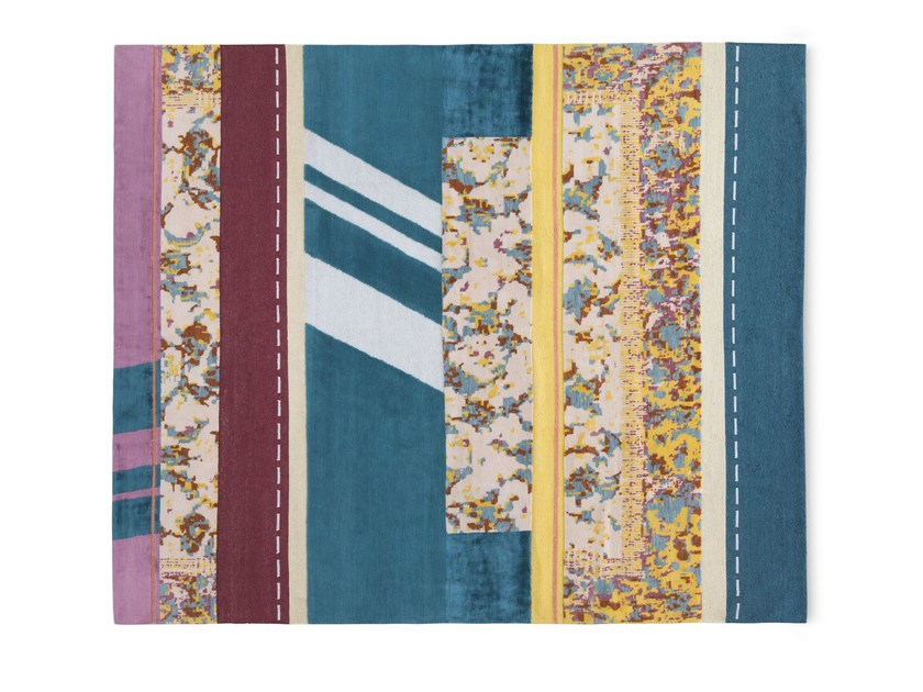 Rectangular striped wool and silk rug B3 | Rug - Golran