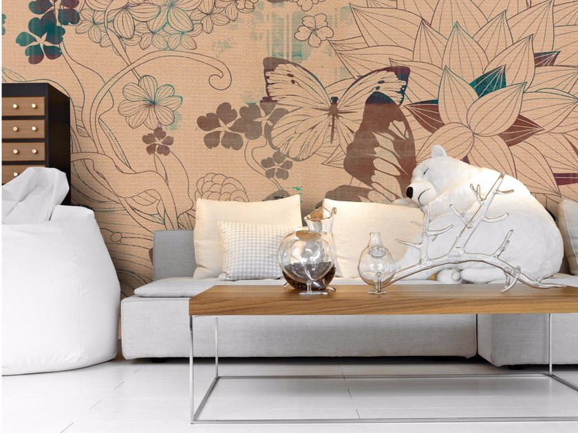 Panoramic wallpaper with floral pattern BACKYARD - Inkiostro Bianco