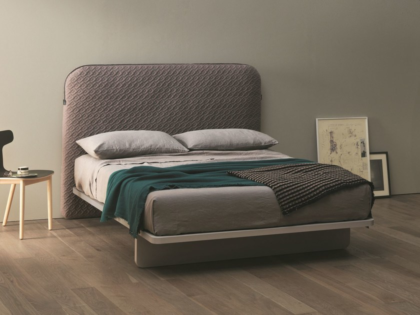 Fabric double bed with storage headboard BAG by Caccaro