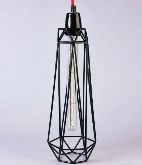 Metal pendant lamp / table lamp BLACK CAGE RED FABRIC WIRE - FILAMENTSTYLE