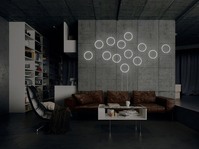 Wall-mounted neon light installation BALL by sygns