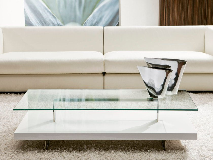 Low wood and glass coffee table with storage space BANNER - Pacini & Cappellini