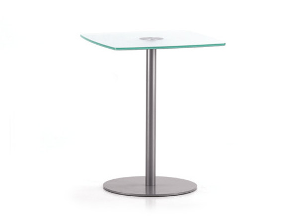 Square glass and steel table BASIC 851 C - TALIN