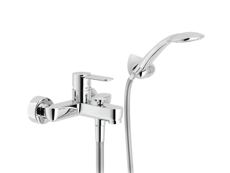Wall-mounted bathtub mixer with hand shower SAND | Bathtub mixer with hand shower - Carlo Nobili Rubinetterie