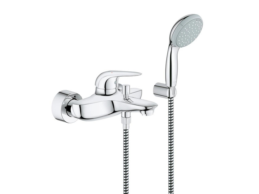 Wall-mounted single handle bathtub/shower mixer EUROSTYLE NEW | Bathtub mixer with hand shower by Grohe