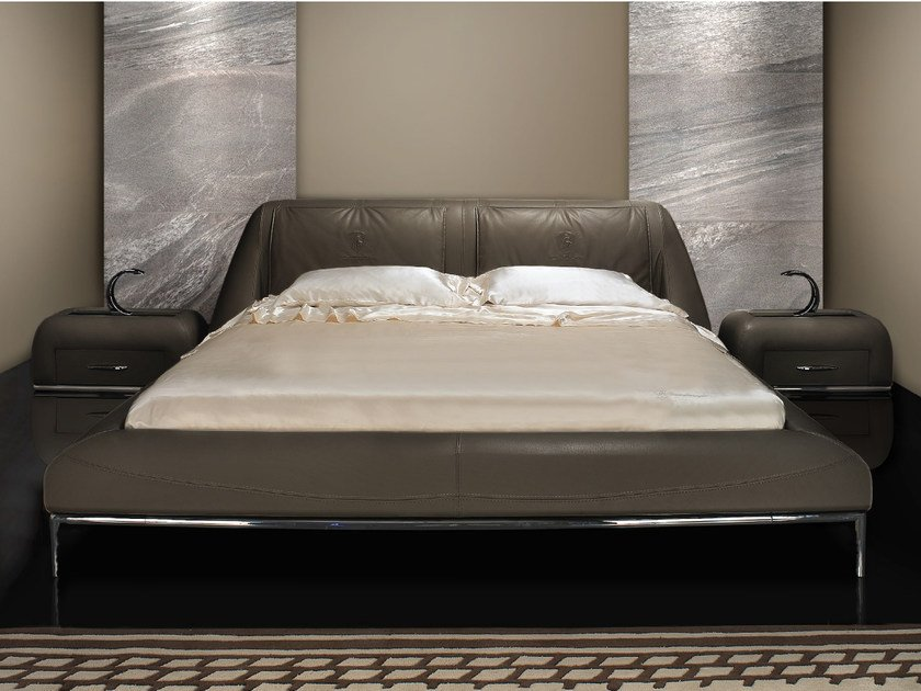 Leather double bed with upholstered headboard BEST MODERN | Bed - Tonino Lamborghini Casa