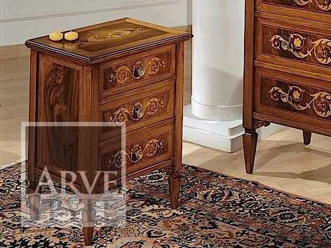 Rectangular solid wood bedside table with drawers VERDI | Bedside table - Arvestyle