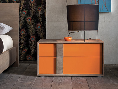 Lacquered rectangular wooden bedside table FLIPPER | Bedside table - Dall'Agnese