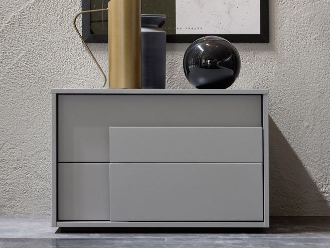 Lacquered bedside table with drawers OVERLAP   Bedside table by Novamobili