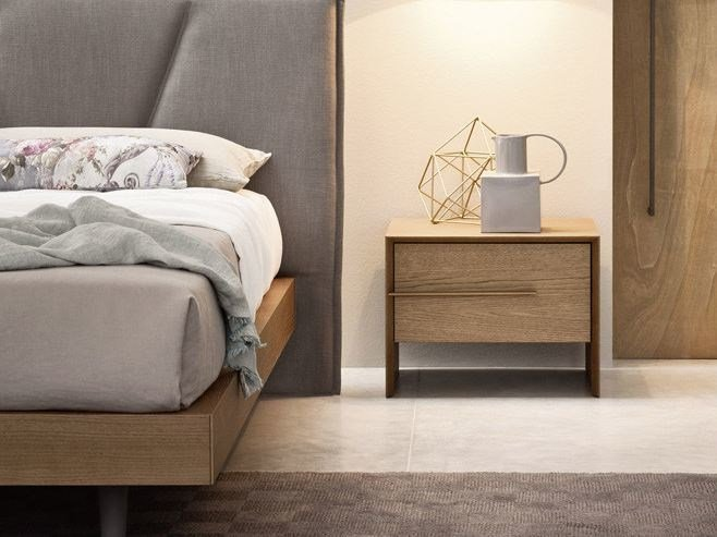 Oak bedside table with drawers PLATONE | Bedside table by Novamobili