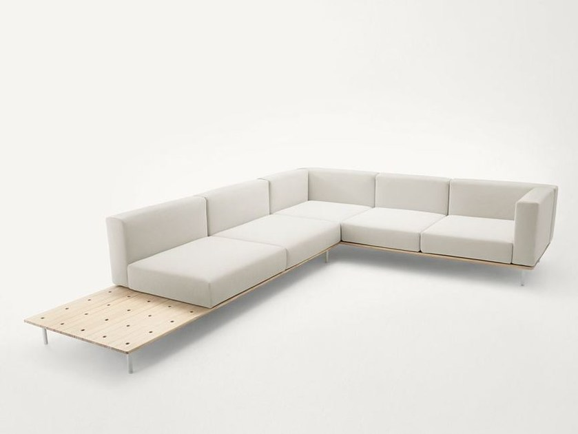 Corner fabric sofa with removable cover BENCH | Corner sofa by Paola Lenti