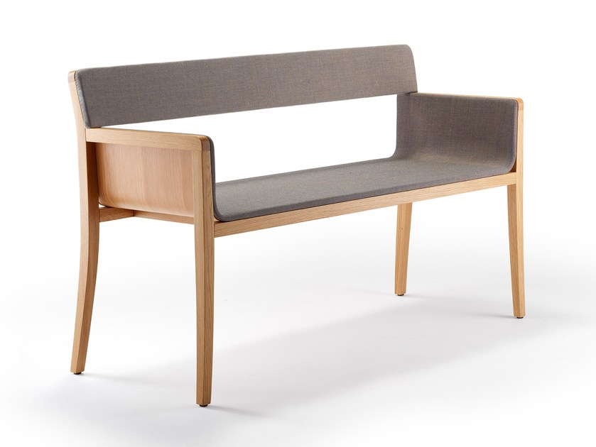 Upholstered indoor bench with back LI-LITH | Bench seating by rosconi