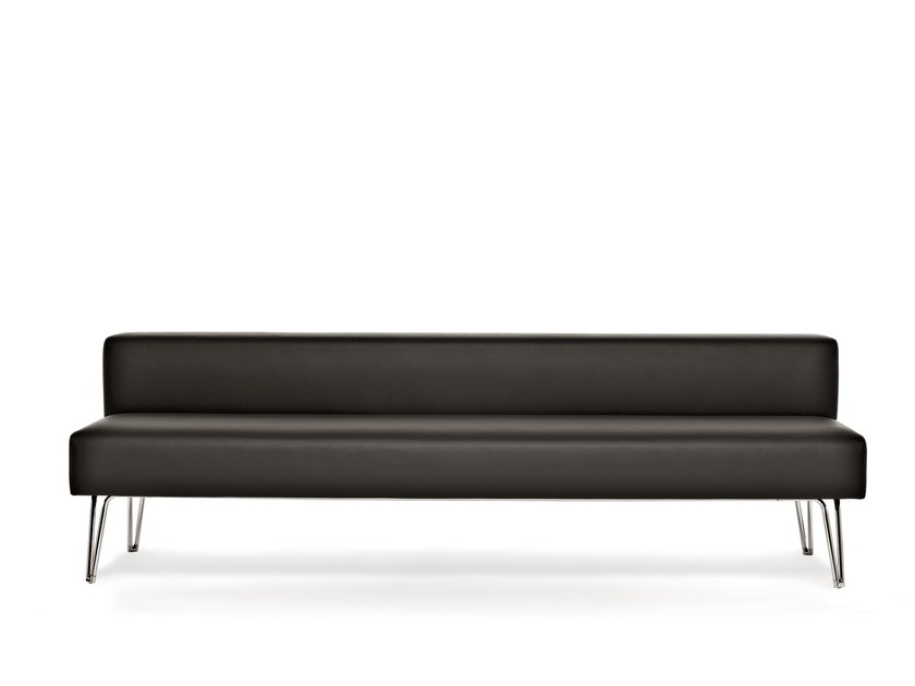 Upholstered leather bench with back LOBBY | Bench with back by Emmegi