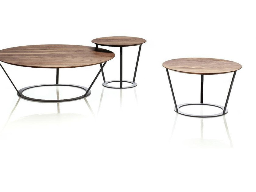 Low round wooden coffee table BEND by Papadatos