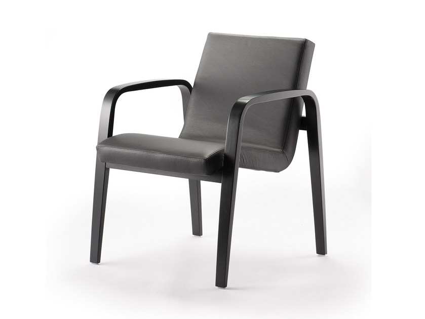 Upholstered leather easy chair with armrests BENTWOOD CO02 by rosconi