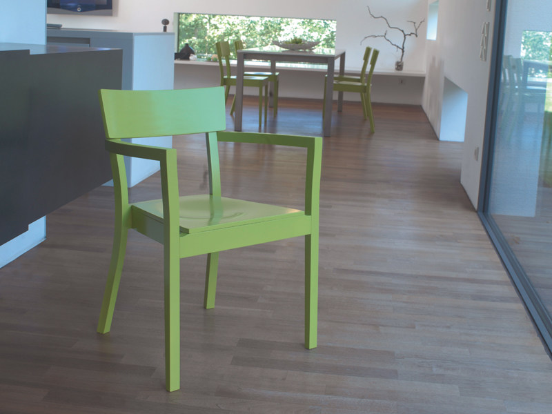Stackable wooden chair BERGAMO | Chair with armrests by TON
