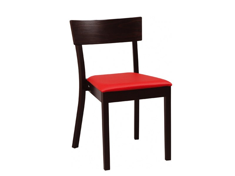 Upholstered stackable wooden chair BERGAMO | Upholstered chair by TON