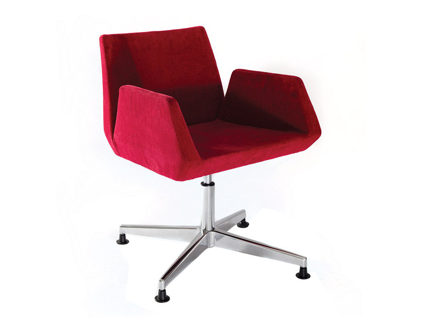 Swivel imitation leather easy chair with 4-spoke base BEVERLY RACES by Vela Arredamenti