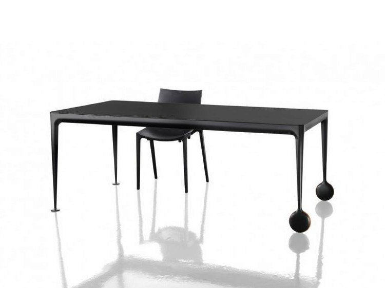 Design extending aluminium dining table with casters BIG WILL - Magis