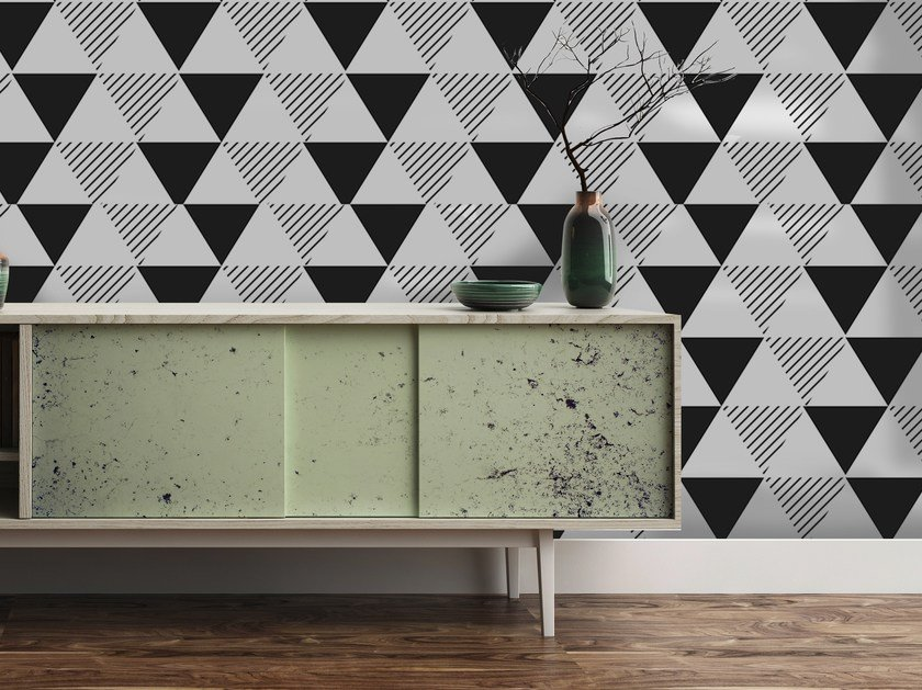 Adhesive geometric washable wallpaper BLACK AND WHITE TRIANGLES by Wall LCA