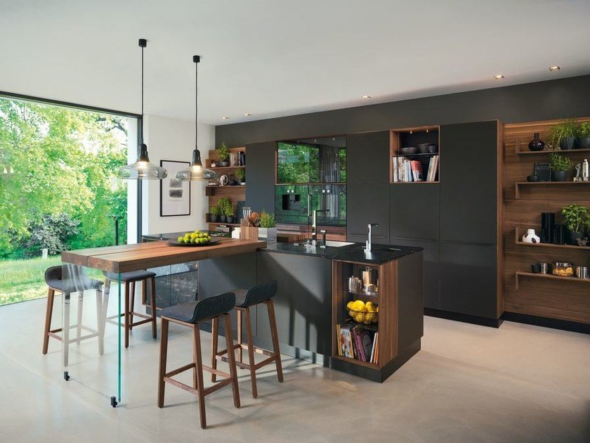 Wooden fitted kitchen with island BLACK LINE by TEAM 7