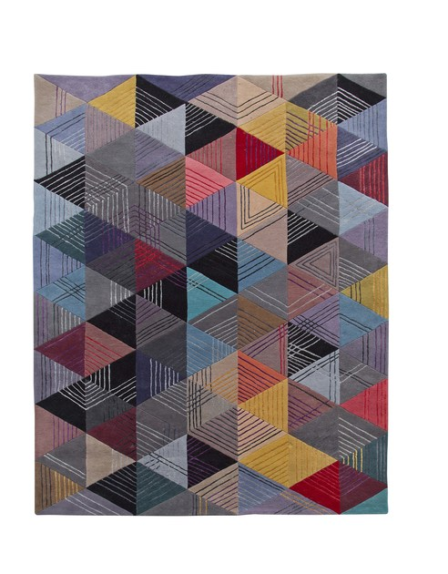 Handmade rectangular wool rug BLACK LOSANGE - ROCHE BOBOIS