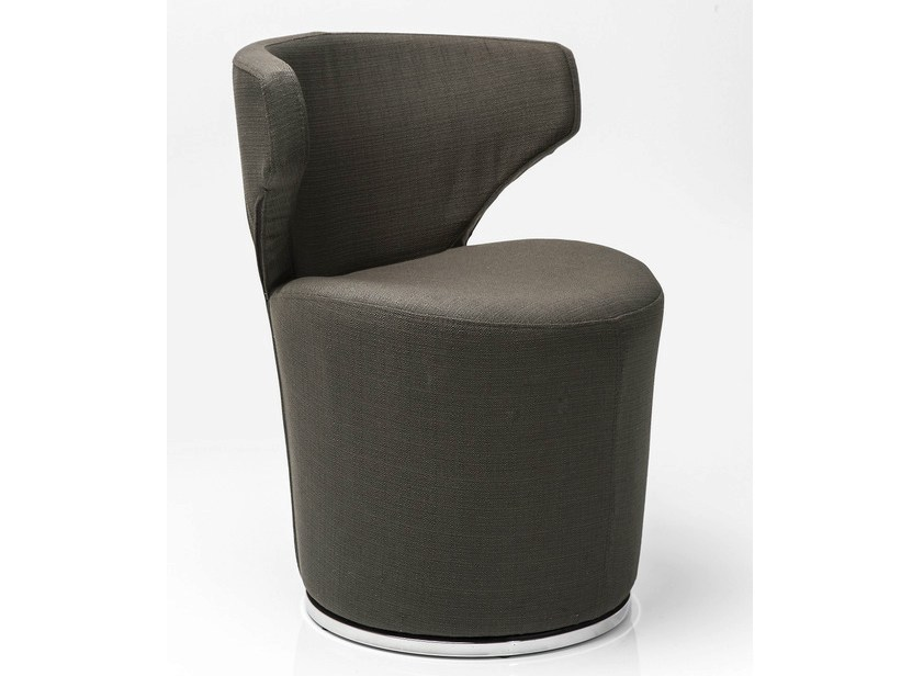 Swivel fabric easy chair BLOWFELD DARK BROWN - KARE-DESIGN