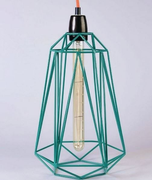 Metal pendant lamp / table lamp BLUE CAGE ORANGE FABRIC WIRE - FILAMENTSTYLE