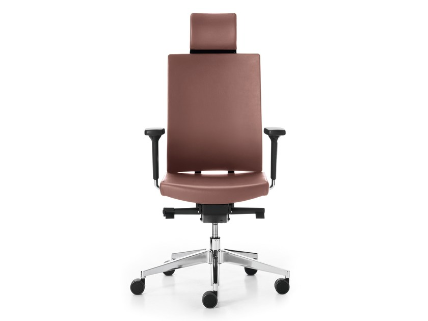 Height-adjustable leather task chair with 5-Spoke base with casters BLUE | Leather task chair - Sinetica Industries