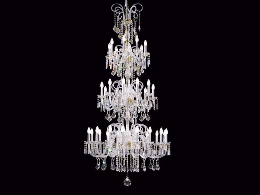 Lampadario a luce diretta incandescente in vetro soffiato con cristalli BOHEMIA VE 870 - Masiero